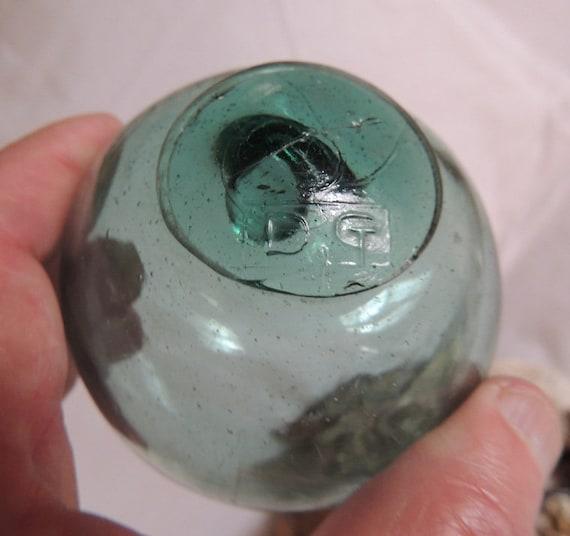 "Vintage Japanese GLASS FISHING FLOAT.. Rare ""D G"" Makers Mark (#63)"