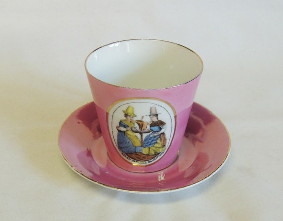Vintage Pink Luster Cup & Saucer.. Welsh Farmers Daughters.. West German Porcelain