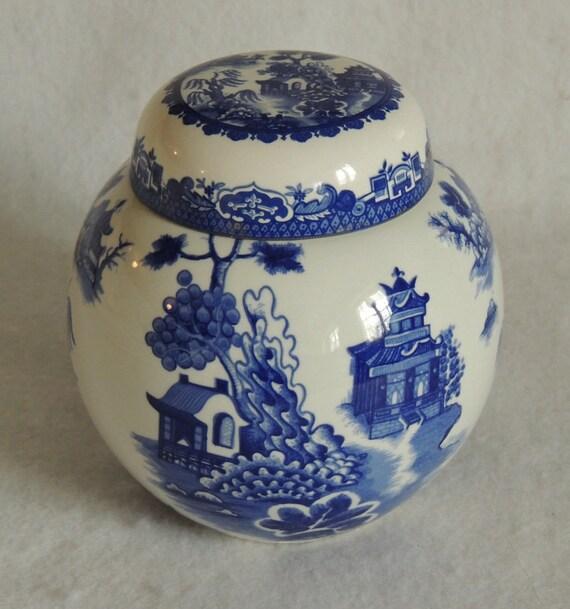 Vintage Royal Cauldon Blue Willow Tea Ginger Jar.. Bristol Ironstone England.. R. Twining