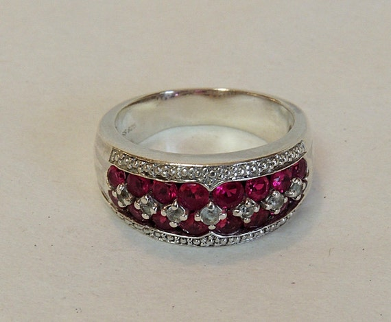 Vintage Lab-Created Diamond & Ruby Sterling Silver 925 Band Ring Size 8.25 (#17)