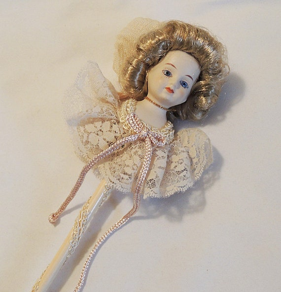 1983 Louis Nichole Heirloom Collection Victorian Angel On A Stick CHRISTMAS ORNAMENT W Box