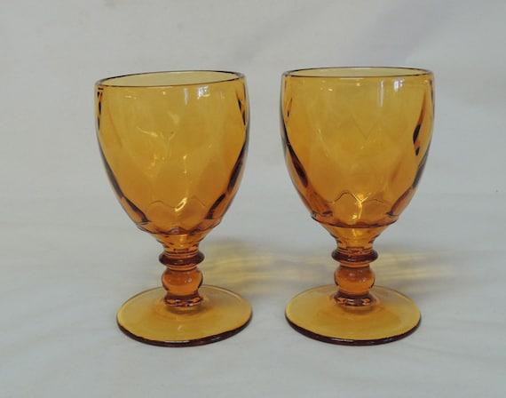 2 Mid Century Amber 8oz Stem Goblets YEOMAN DIAMOND OPTIC Heisey / Imperial Glass