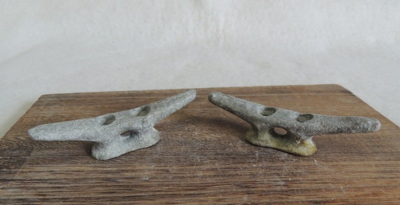 "Vintage Matched Pair 4"" Cast Metal Boat Cleats, Tie Downs, Marine Hardware (#12)"