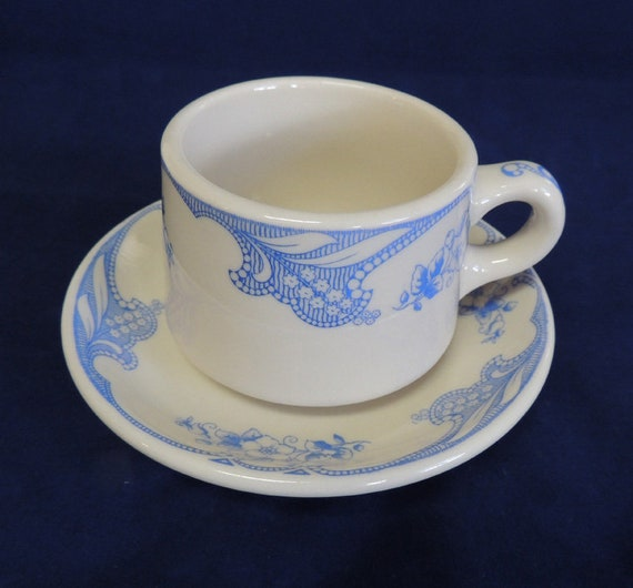 Vintage Shenango China Rose Point Blue Restaurant Ware Cup and Saucer (#3)