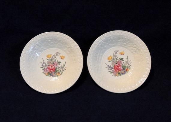 "2 Wedgwood Wellesley TINTERN 5.5"" Fruit Berry Bowls.. Vintage England Pattern AL9460"