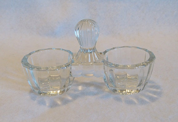 Vintage Double Open Salt Cellar Dip Glass Dish With Handle
