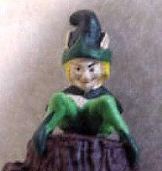 Vintage English Pewter Leperchaun / Pixie Thimble - Hand Painted Artist Signed