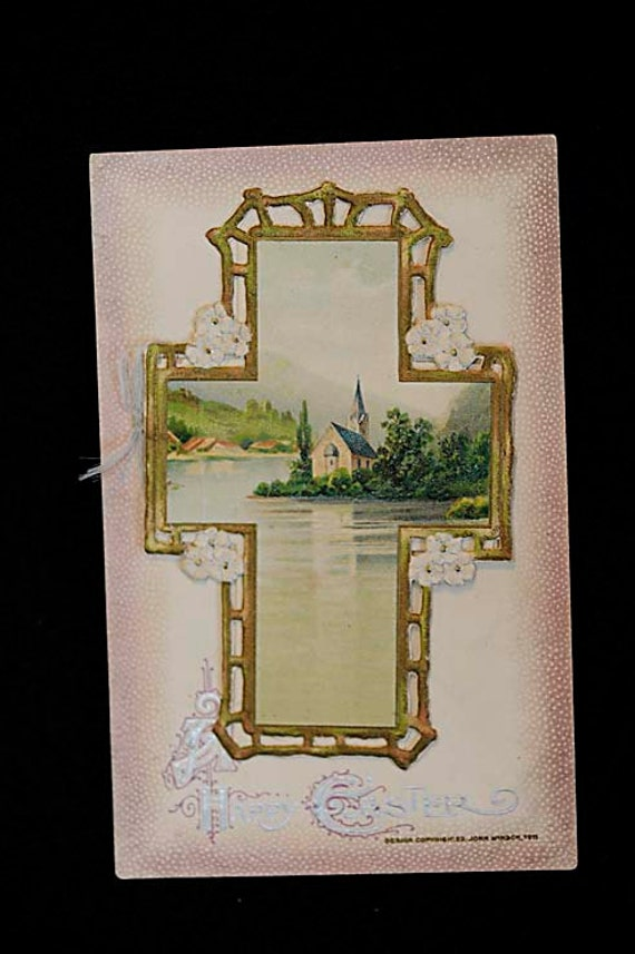 Vintage 1911 EASTER POSTCARD 3D Die Cut Cross Opens To Poem.. Marked John Winsch