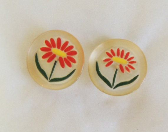 """2 Vintage Reverse Carved & Painted Lucite Flower Shank Buttons.. 1.5"""" Diameter"""