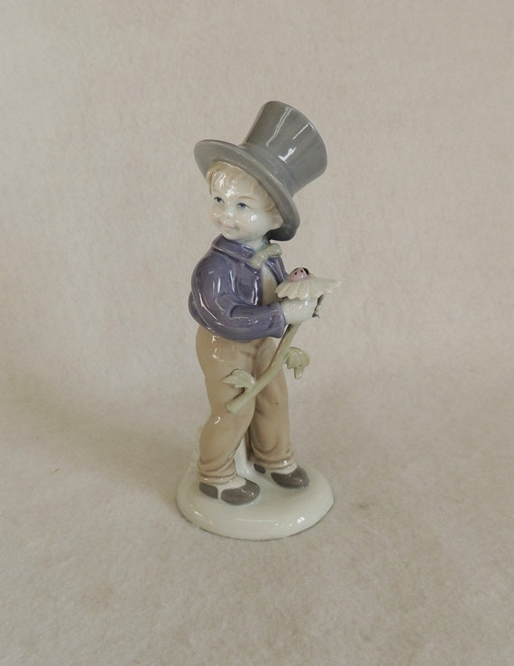 "Vintage Porcelain 8"" Chimney Sweep Figurine.. Crown Mark"