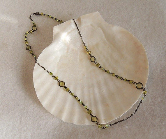 Vintage Antiqued Chain & Peridot Glass Beads Necklace