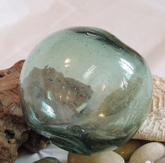 """Vintage 13"""" In Circumference Japanese GLASS FISHING FLOAT Bubbles, Odd Shape (#20)"""