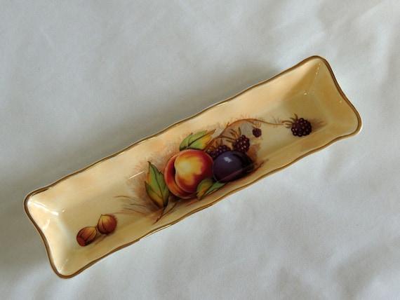Vintage Aynsley Bone China Pen Tray Trinket Dish.. England.. Fruit Design Gold Trim
