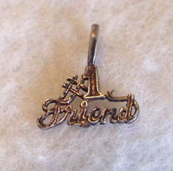 "Vintage Sterling Silver ""No. 1 Friend"" Pendant / Charm"