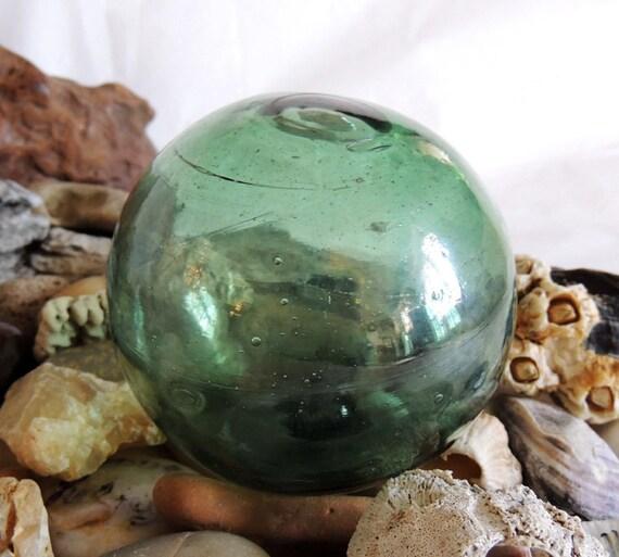 Vintage Japanese GLASS FISHING FLOAT Rare Makers Mark.. Emerald Green (#24)