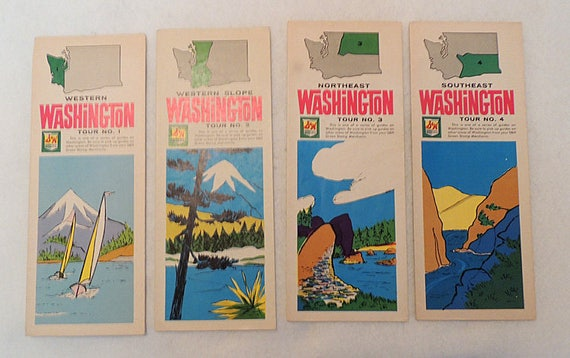 4 Vintage 1960s S & H Green Stamps Washington State Tour Guides Road / Highway Maps