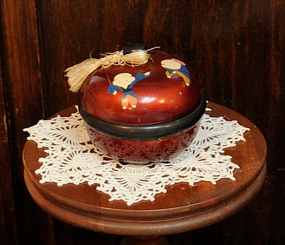 Vintage Asian Japanese Lacquered Box.. Hand Painted Cute Children