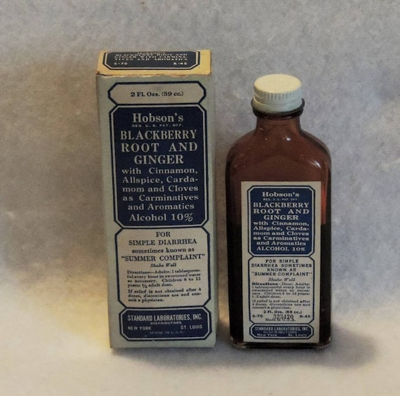 Vintage Medicine Bottle.. Hobson's Blackberry Root And Ginger For Diarrhea & Box