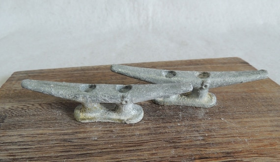 """Vintage Matched Pair 5"""" Cast Metal Boat Cleats, Tie Downs, Marine Hardware (#13)"""