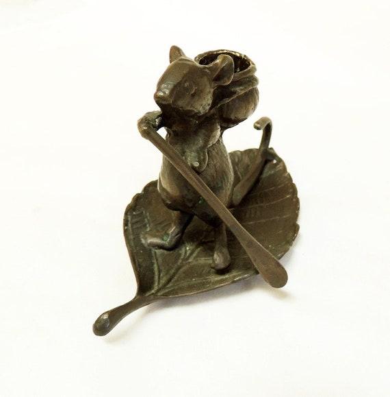 Vintage Cast Bronze Mouse On Leaf With Paddle Candle Holder