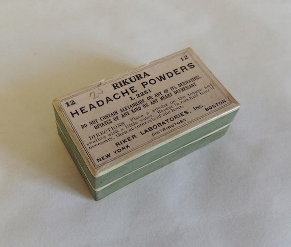 Vintage Pharmacy RIKURA HEADACHE POWDERS Box With Original Never Used Contents