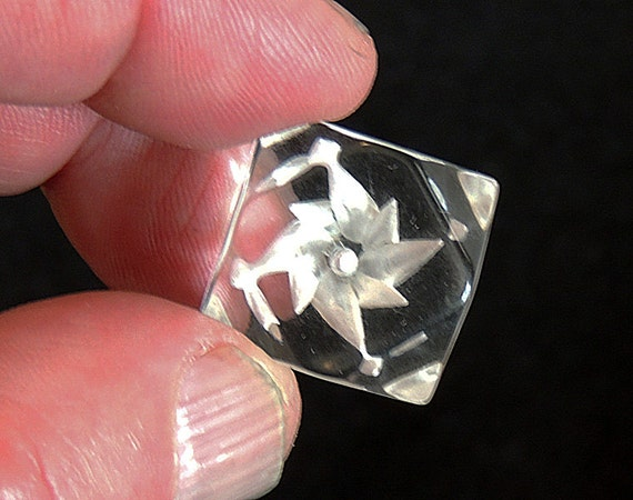 2 Vintage Clear Lucite Reverse Carved Flower Buttons.. Chunky Faceted Cube
