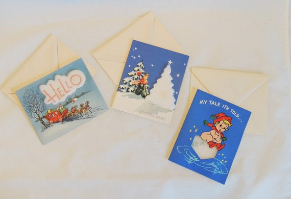 3 Mid Century Styrofoam Christmas Greeting Cards Unused W/Env. 3D Innovation