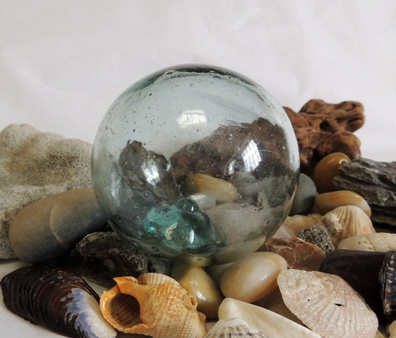 Vintage Japanese Glass FISHING FLOAT Teal Blue & Many Bubbles (#105)