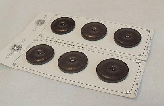 """6 Vintage 1.5"""" Czecho-Slovakia Smooth  Brown Leather Buttons On Card Nouveaute De Paris"""