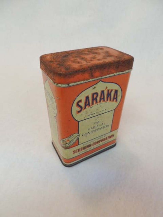 VINTAGE PHARMACEUTICAL TIN.. Saraka Laxative Granules.. Good Housekeeping Seal