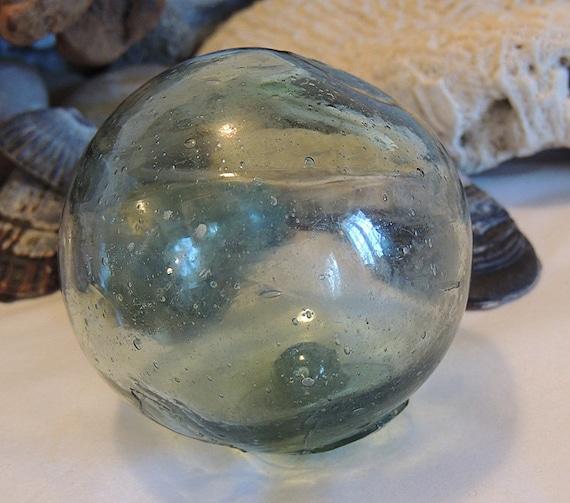 Vintage Japanese Glass Fishing Float 2.5 Inch, Bubbles, Odd Shape, Straw Marks  (#13)