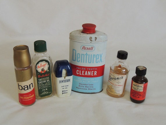 Vintage Men's Grooming Toiletry Products For Display / Prop.. Lot of 6 Items