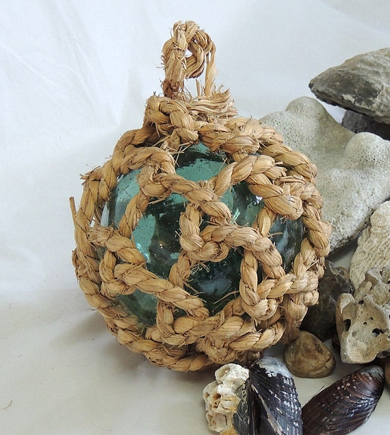 """Vintage 17"""" In Circumference Japanese GLASS FISHING FLOAT Thick Heavy Net  (#44)"""