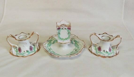 Antique 1904 Hotel Astor NYC Porcelain Match Holder & 2 Candlesticks.. 3 Pieces