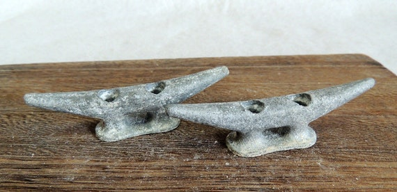 "Vintage Matched Pair 3.5"" Cast Metal Boat Cleats, Tie Downs, Marine Hardware (#16)"