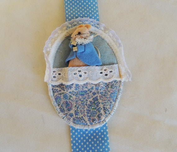 Vintage English Hand Made Mouse..A Small Hibernating Dormouse In A Pocket.. Blue Coat