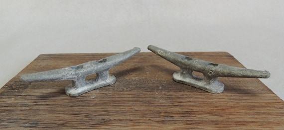 """Vintage Matched Pair 5"""" Cast Metal Boat Cleats, Tie Downs, Marine Hardware (#4)"""