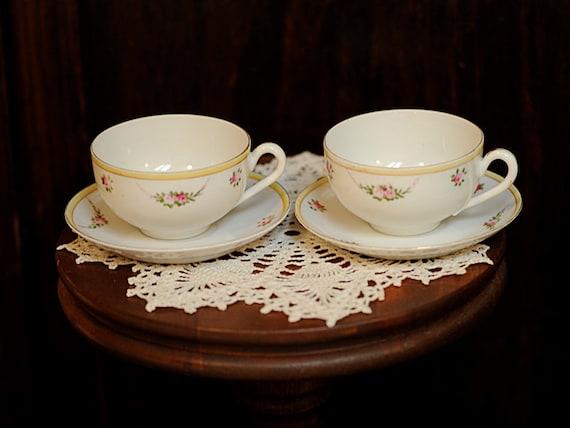 Pair Vintage Hand Painted Porcelain NORITAKE 1920s-30s Demitasse Cups & Saucers
