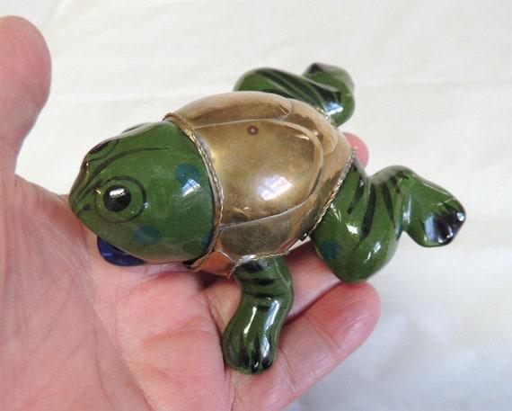 Vintage Whimsical Ceramic Frog in Brass Jacket.. Cottagecore