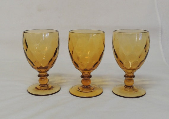3 Mid Century Amber 8oz Stem Goblets YEOMAN DIAMOND OPTIC Heisey / Imperial Glass
