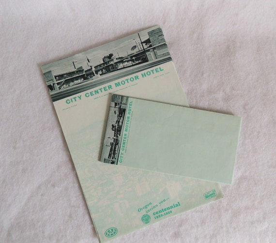 Vintage 1959 Mid Century Motel Stationery City Center Motor Hotel Portland Oregon CENTENNIAL