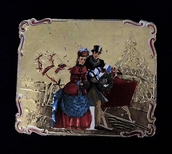 Vintage MCM 1950s Christmas Card Embossed Gold Tin Foil Die Cut Couple.. Unused W/Env (#4)