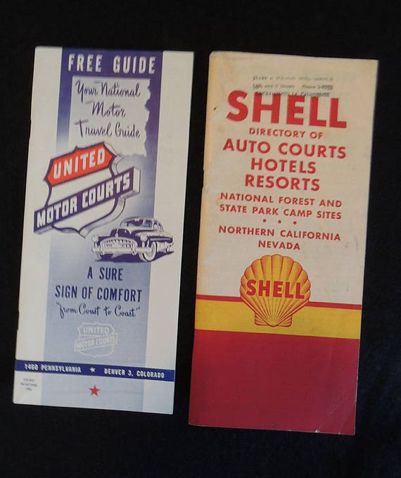 2 Vintage Travel Ephemera Auto Motor Courts Directory Guides.. Shell 1948 CA & NV.. UNITED 1950