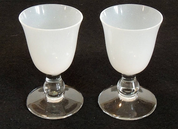 "Pair Of Vintage stemmed 3.25"" Cordial Glasses.. Frosted Top Clear Stem.. 1.75 Ounces"
