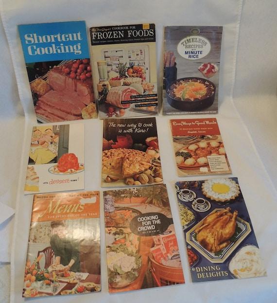 9 Vintage 1940s-60s Recipe Cook Books Mid Century.. Including Freezer, Jello, Campbells & more