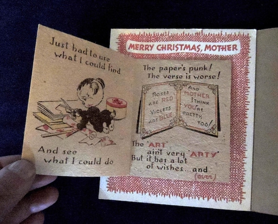 Rare 1940's MOTHER CHRISTMAS CARD.. Tri Fold Pop Up.. Unused Greeting Self Envelope (#7)