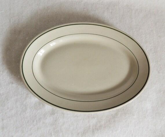 Vintage Green Stripe Tepco Restaurant Ware Platter.. 1950s Mid Century Art Deco