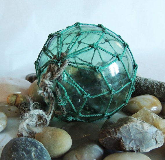 Vintage Japanese GLASS FISHING FLOAT Original Net, Moss Green & Rare Makers Mark (#66)