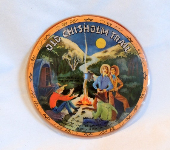 """Vintage Record Guild Of America 6.5"""" Picture Disc The Lone Prairie / Old Chisholm Trail"""