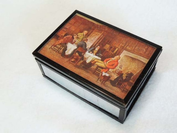 Vintage 1930's-40's Mirrored Wood Lined CANDY BOX.. Van Duyn Candy Oregon